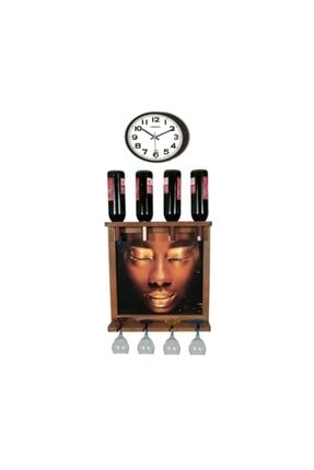 Bahat Saatli Tablolu Ahşap Şaraplık Viski Bira Salon Bar Mutfak Dekoru 0
