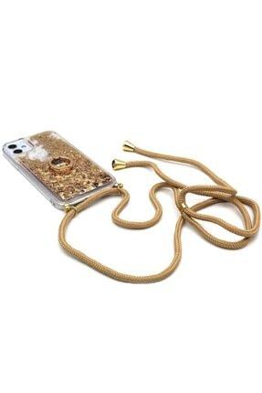 Merwish Huawei Mate 10 Lite Sulu Simli Boyun Askılı Yüzüklü Silikon Kılıf Gold 0