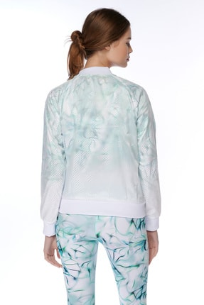 Dagi Kadın Beyaz File Desenli Fermuarli Ceket 1