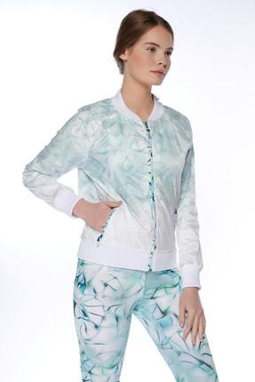 Dagi Kadın Beyaz File Desenli Fermuarli Ceket 2