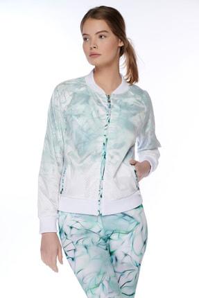 Dagi Kadın Beyaz File Desenli Fermuarli Ceket 3