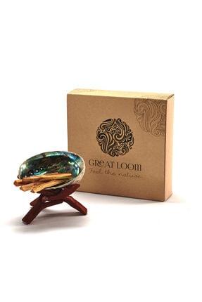 Great Loom Palo Santo Hediye Seti - Palo Santo Ağaç Tütsü 18 Gr / Ahşap Tripod 1 Ad / Abalone Kabuğu 1 Ad 0