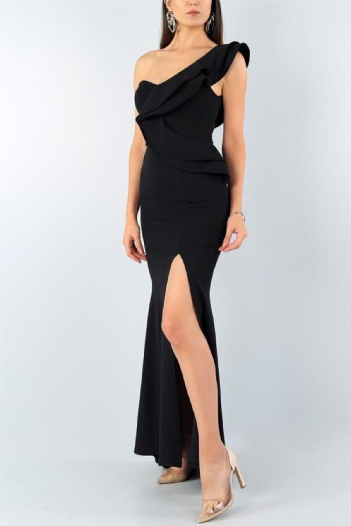 Esnek Krep Kumaş Tek Omuz Detaylı Siyah Uzun Abiye Elbise Black Maxi Prom Dress