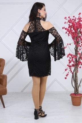Matik Abiyem Kadın Siyah Dantel Üstü Flok Baskılı Abiye Elbise 2
