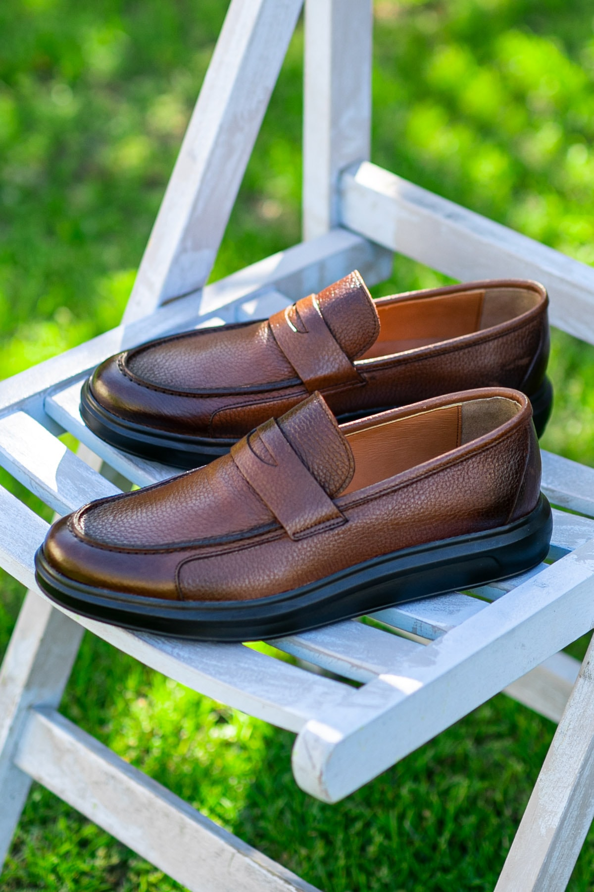 Erkek Kahverengi Hakiki Deri Loafer Ayakkabı