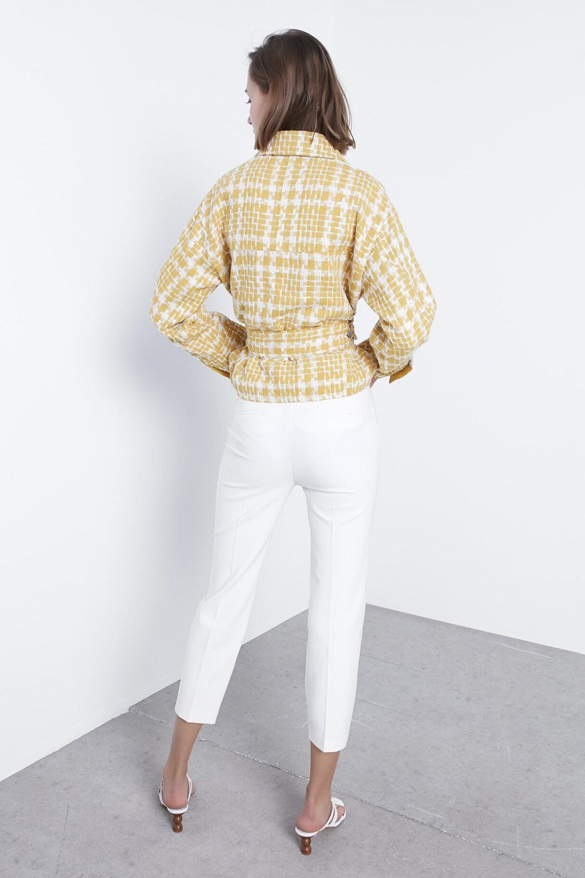 İpekyol Kadın Sarı Kuşaklı Tüvit Ceket IS1200005055009 1