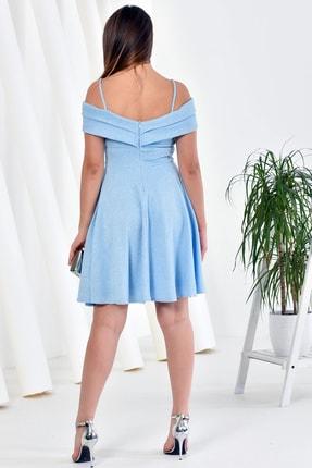 Zenlife Kadın Bebe Mavi Çift Kat Prenses Kollu Evaze Askılı Kısa Elbise 1