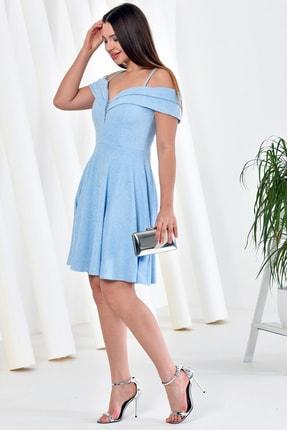 Zenlife Kadın Bebe Mavi Çift Kat Prenses Kollu Evaze Askılı Kısa Elbise 2