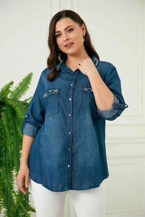 Rmg Kadın Mavi Taş Detaylı Büyük Beden Tensel Gömlek 3