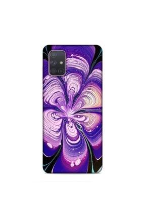 Pickcase Samsung Galaxy A71 Kılıf Desenli Arka Kapak Mor Tablo 0