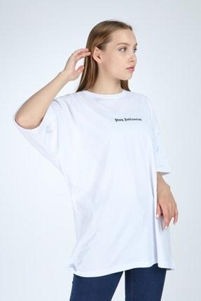 Millionaire Kadın Beyaz Stay Antisocial Baskılı Oversize Tshirt 1