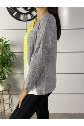 ELBİSENN Kadın Sarı Yeni Model Asimetrik Yaka Bloklu Bluz 2