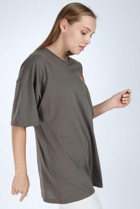 Millionaire Kadın Haki Harlem Baskılı Oversize T-shirt 2