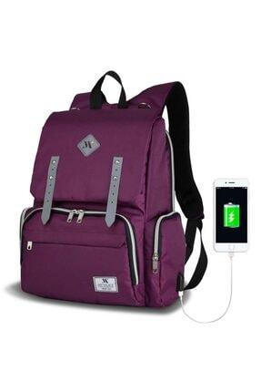 My Valice Unisex Mor Smart Bag Mother Star USB'li Anne Bebek Bakım Çantası 0