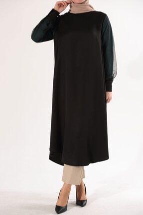 Ekrumoda Kadın Siyah Kolu Tüllü Tunik 1