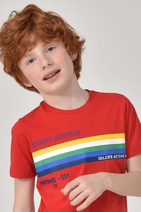 bilcee Unisex Çocuk Kırmızı T-Shirt GS-8145 2