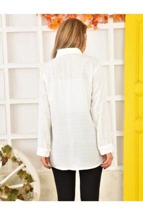 Moda Enfal Kadın Beyaz Uzun Kol Gömlek 2