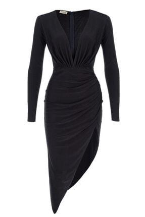Lora İstanbul Kadın Siyah Midi Elbise 0