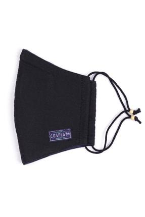 Cosplay Unisex Siyah Yıkanabilir Bez  Pamuklu 2 Katlı Filtreli Telli Kumaş Maske 1