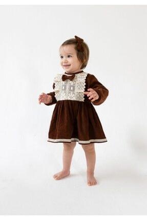 Catz Kids Kız Çocuk Kahverengi Kadife Güpürlü Elbise 2