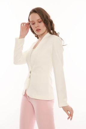 MANGOSTEEN Kadın Beyaz Çıtçıtlı Klasik Ceket 2