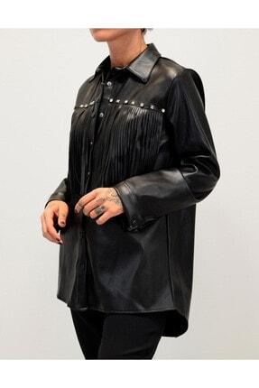 Shoppingdimoda Kadın Siyah Püskül Taşlı Detay Deri Gömlek 1