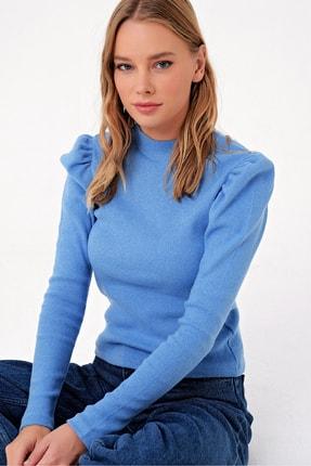 Trend Alaçatı Stili Kadın Mavi Prenses Kol Yarım Balıkçı Şardonlu Crop Bluz ALC-X5042 2
