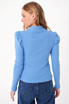 Trend Alaçatı Stili Kadın Mavi Prenses Kol Yarım Balıkçı Şardonlu Crop Bluz ALC-X5042 3