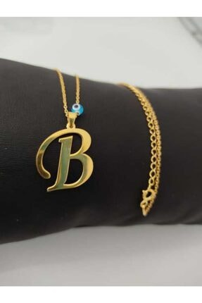 Esda Collection Altın Kaplama B Harfı Gümüş Kolye 1