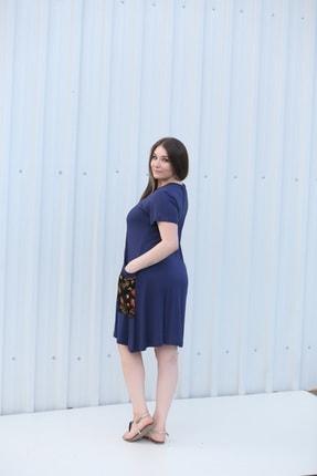 MGS LİFE Kadın, Renkli Cep Detaylı, Lacivert Renkli, Büyük Beden Yazlık Elbise 2