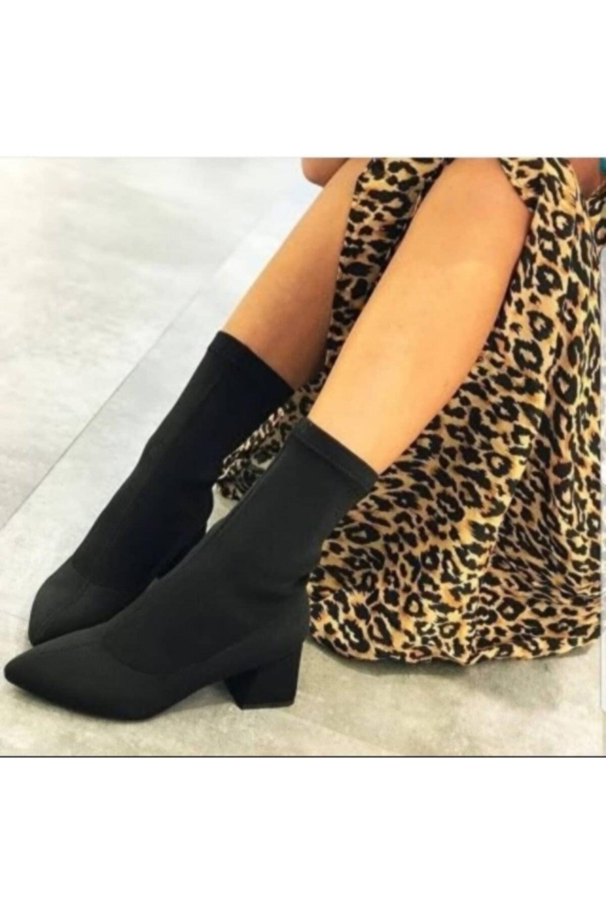 TRENDWOMAN Kadın Siyah Topuklu Ayakkabı