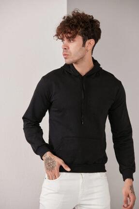 CATSPY Erkek Siyah Kapüşonlu Sweatshirt 1