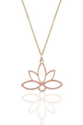 Papatya Silver 925 Ayar Rose Altın Kaplama Gümüş Lotus Çiçeği Kolye 0