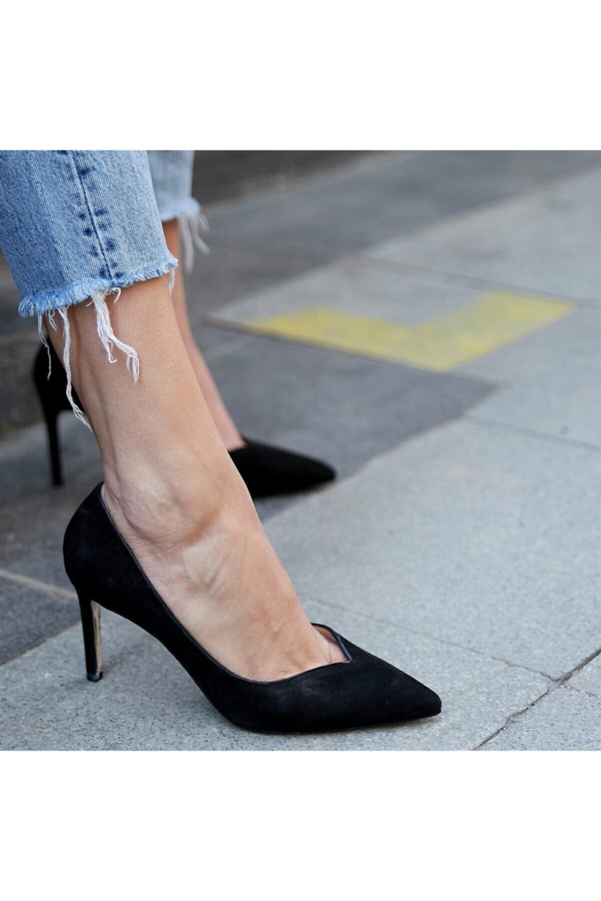 BUTİKTOZLU Kadın Siyah Süet Topuklu Ayakkabı