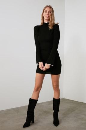 TRENDYOLMİLLA Siyah Fitilli Kol ve Yaka Detaylı Triko Elbise TWOAW21EL2205 0