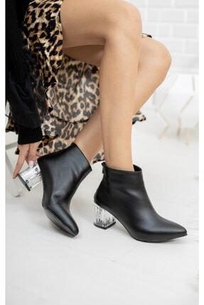 Moda Değirmeni Siyah Cilt Kadın Şeffaf Topuk Bot Md1050-116-0001 1