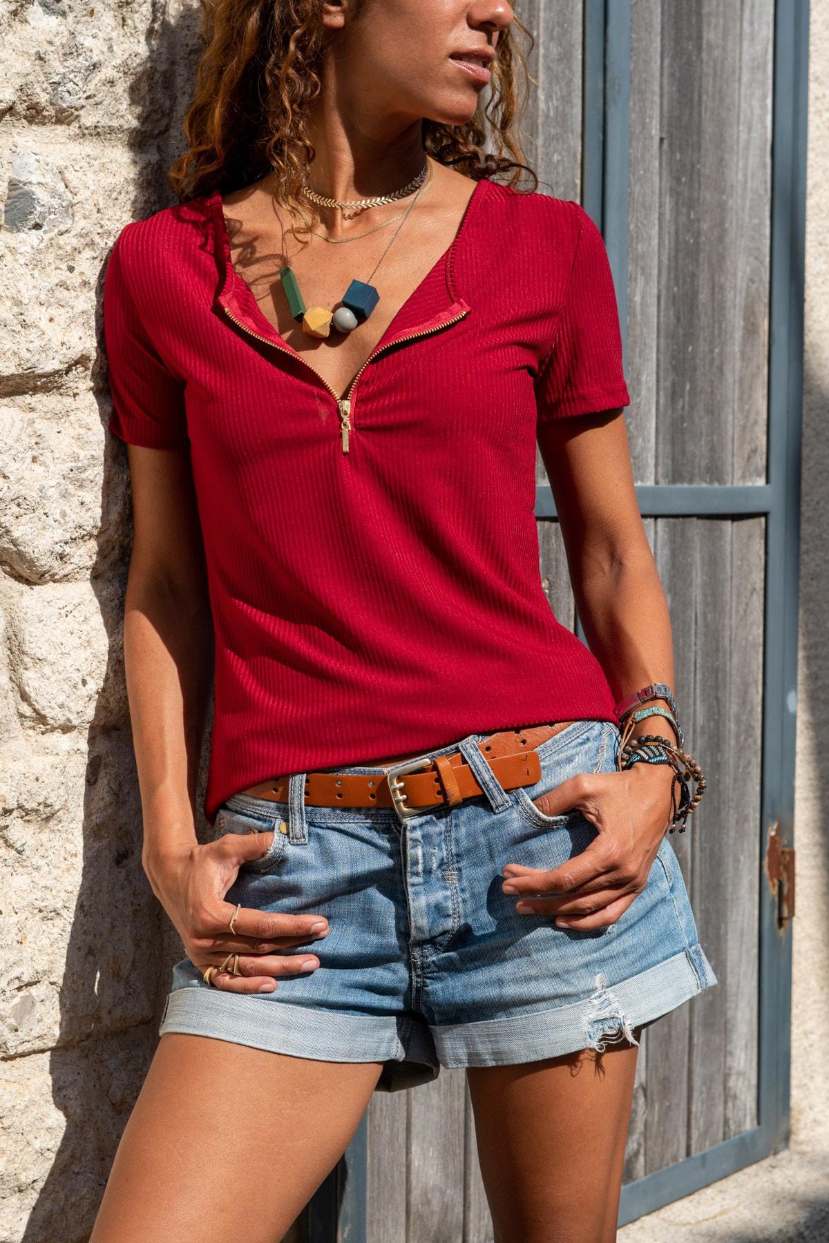 Güneşkızı Kadın Bordo Fermuarlı Basic Bluz Gk-Bstk4023 0