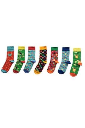 My Socks Renkli Desenli Unisex 7'li Happy Neşeli Çoraplar 0