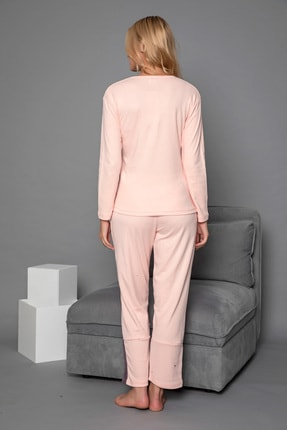 Strawberry Kadın Somon Pamuklu Interlok Pijama Takimi 3