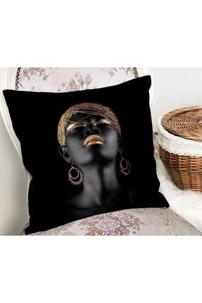Realhomes Siyahi Kadın Özel Tasarımlı Modern Dekoratif Yastık Kırlent Kılıfı 1