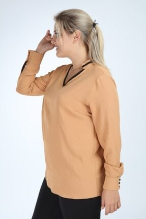 Lir Kadın Büyük Beden Uzun Kol Biyeli V Yaka Bluz Vizon 2