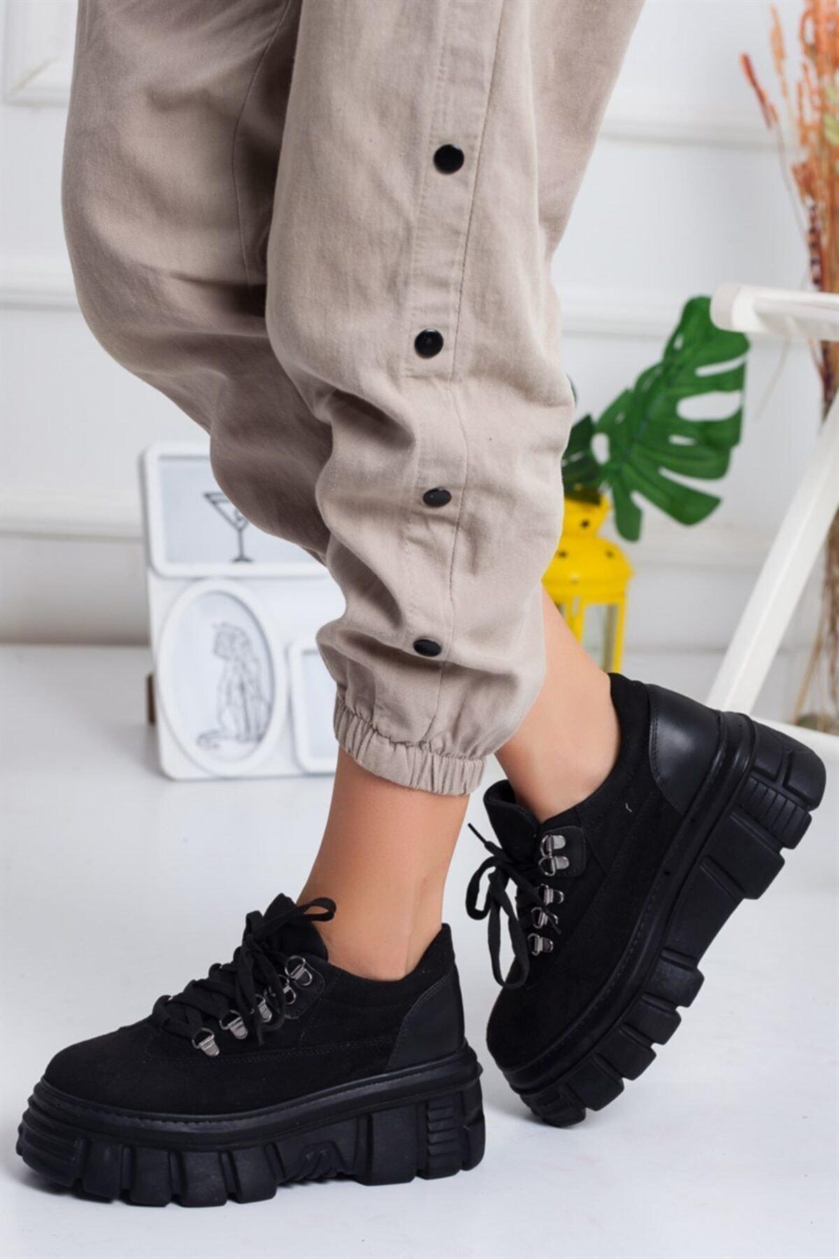Lovita Shoes Kadın Siyah Süet Sneaker