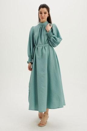 Gofı Elbise - Mint Yeşili HS21021-MİNT YEŞİLİ