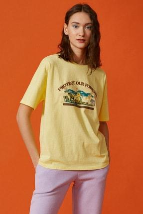 Koton Kadın Sarı Baskili Tisört 1