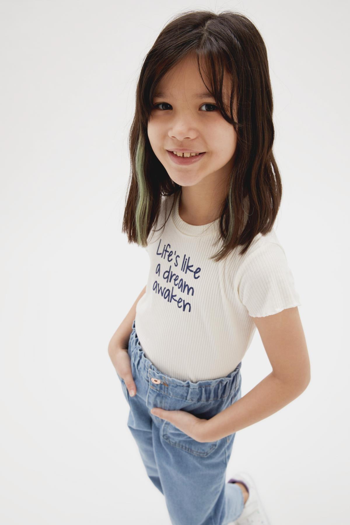 Kız Çocuk Yazı Baskılı Kısa Kol Tişört