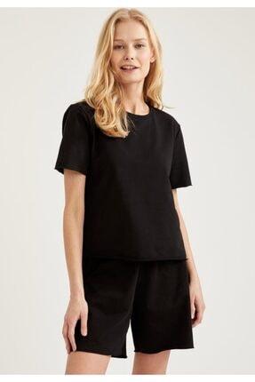 Defacto Kadın Siyah Relax Fit Basic Kısa Şort Pijama Altı 1