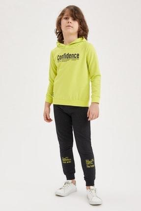 Defacto Erkek Çocuk Yazı Baskılı Sweatshirt ve Jogger Eşofman Alt Takım 0