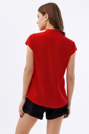Pattaya Kadın Kırmızı Hakim Yaka Kısa Kollu Gömlek P21s110-1173 3