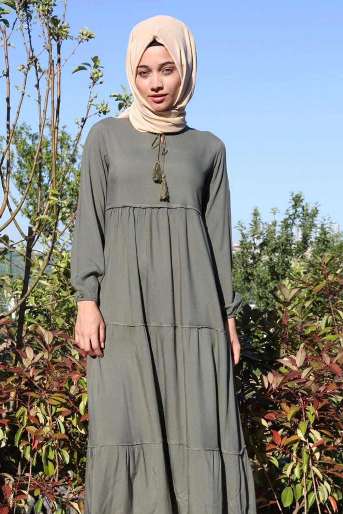 Kadın Koyu Haki Yaka Bağcıklı Tesettür Elbise 1627bgd19_080