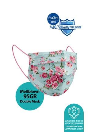 Medizer Madame Spring Desen Meltblown Ultrasonik 3 Katlı Cerrahi Maske - Burun Telli 10'lu 1 Kutu 1